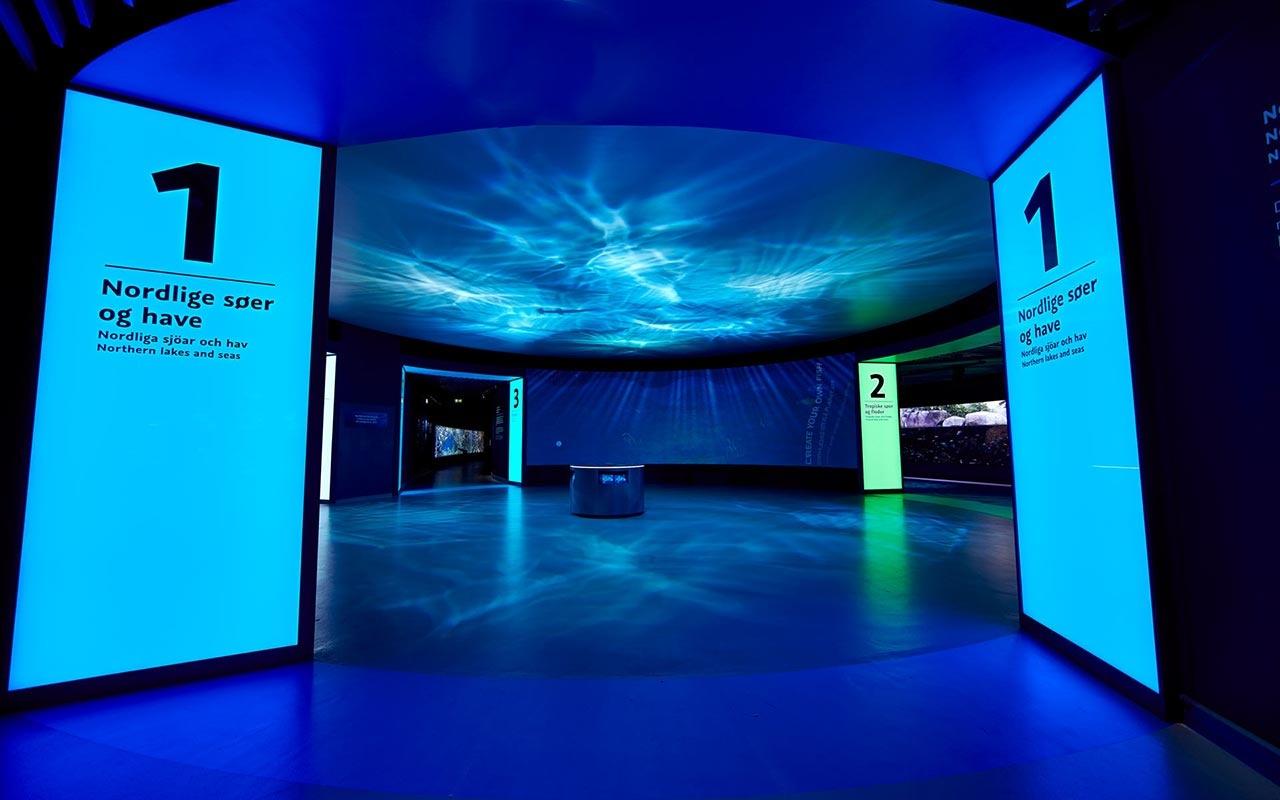 这个海洋展馆是丹麦的海洋馆设计丹布拉星球,它的的面积有大于1600平方米,这里也是丹麦的主要景点之一,丹布拉星球凭借其增长潜力,区域发展的影响、创新性、实现性及独特性和有理由去被选为丹麦最好的有体验经济的项目。 北欧最大的水族馆已经被图形化地重新配置,由此采取了一种新的方式来获取内容。新的外观以一种微妙的表现形式为特征,它渗透了建筑中所有不同层次的信息。游客沉浸在这个蓝色星球迷人的水世界里,透明的玻璃通道可以让观看者在海底行走,在这里可以观察到成千上万的鱼类和海洋动物,更进一步的与海洋生物接触,